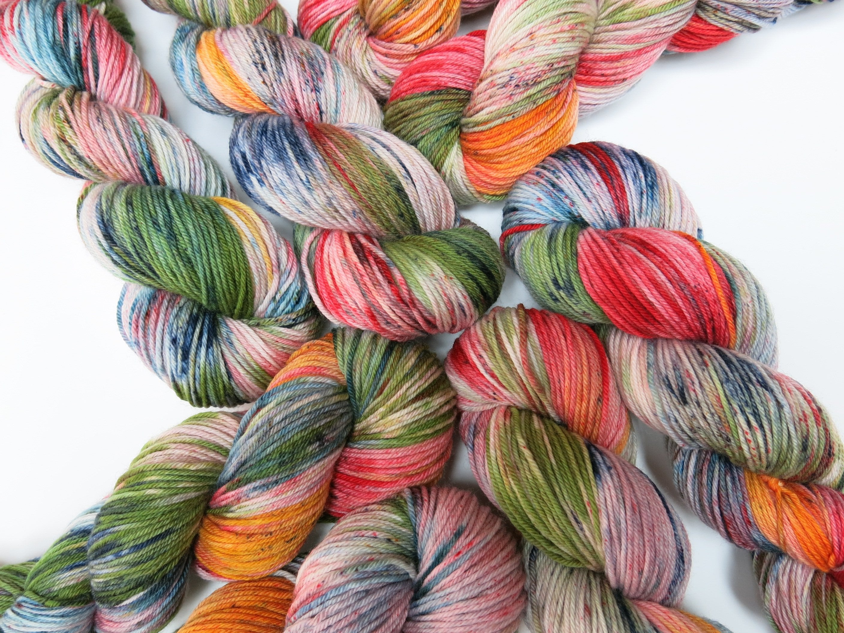 hand dyed speckled merino and nylon dk yarn skeins