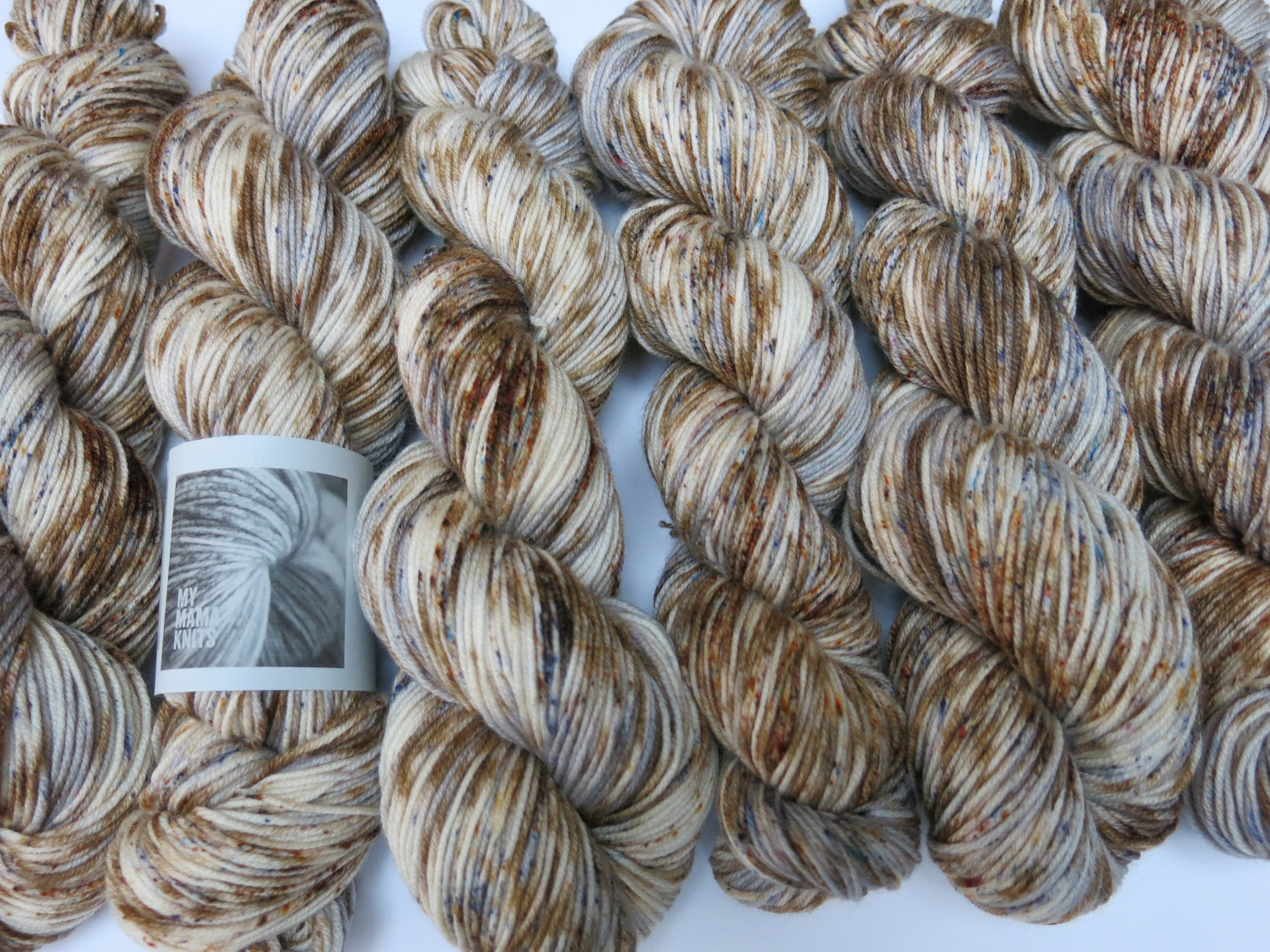indie dyed speckled brown and grey merino dk yarn