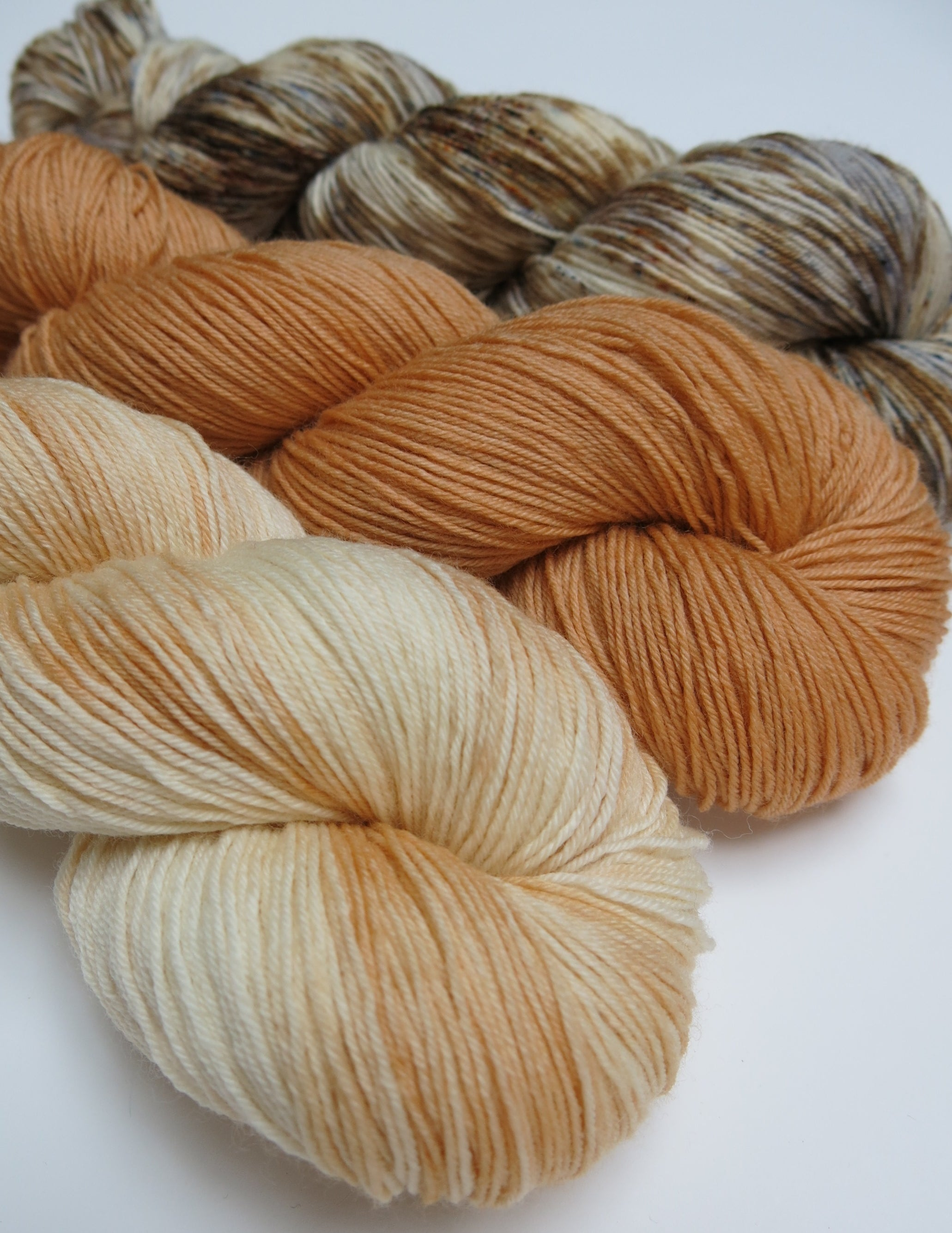 hand dyed shortbread, tablet and haggis inspired yarn trio