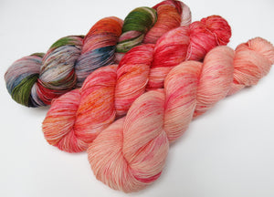 indie dyed sock yarn fade set with three full 100g skeins