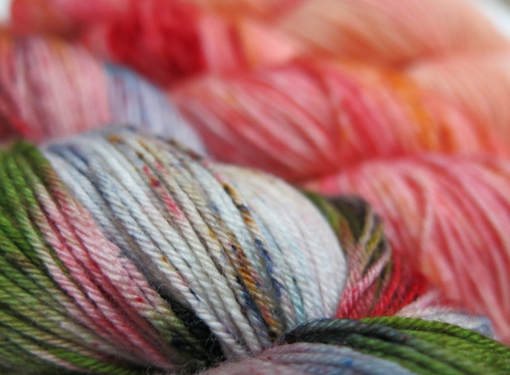 hand dyed three skein sock yarn fade kit with orange and green