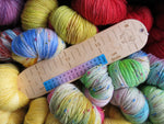 Fleece Loved Products child sized birch wood sock measuring ruler for knitting
