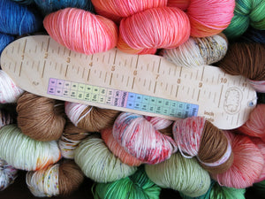 Sockers Rule UK made birch wood sock measuring ruler for knitting