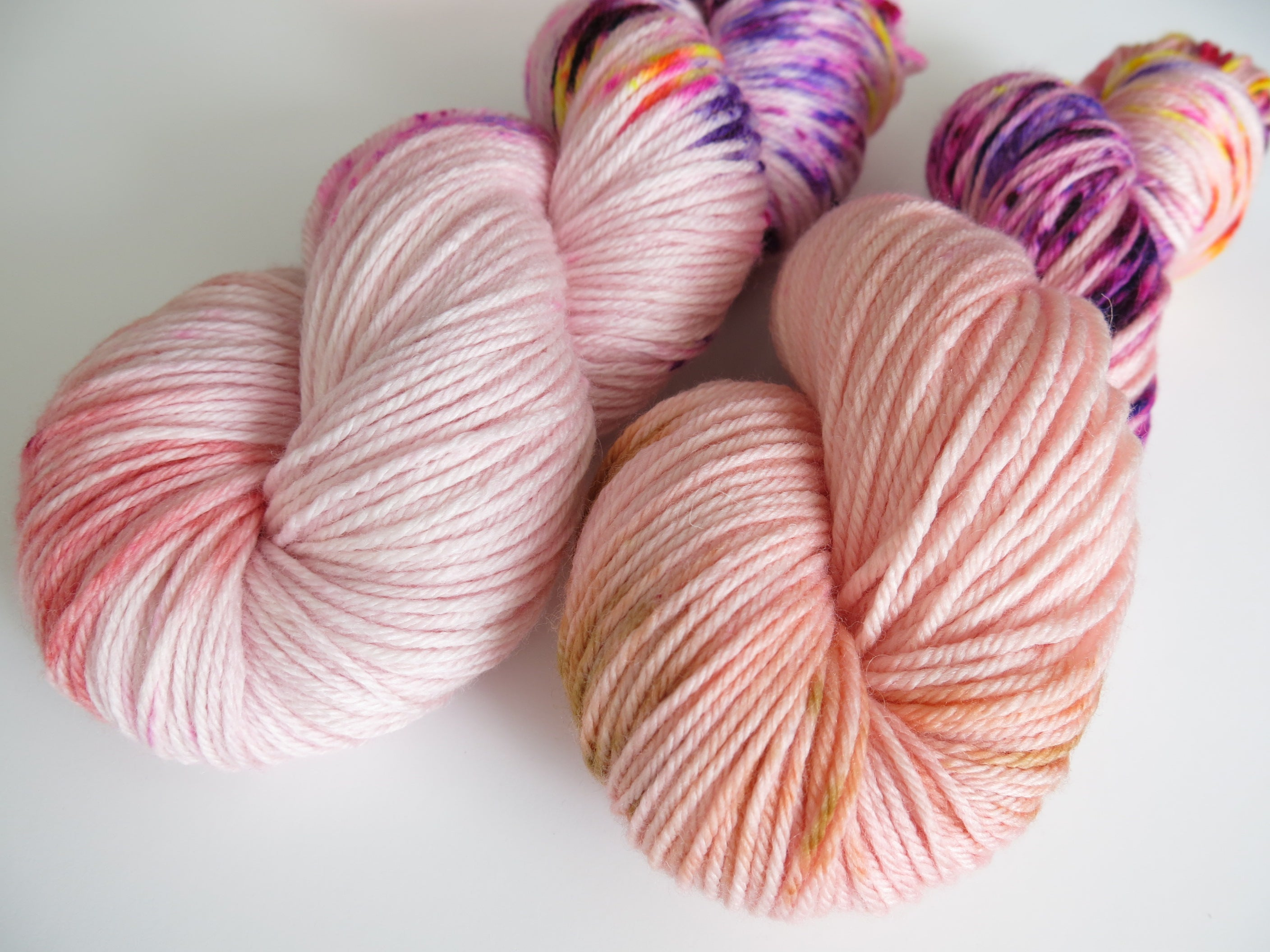 hand dyed uv reactive flesh coloured dk yarn for tits out collective