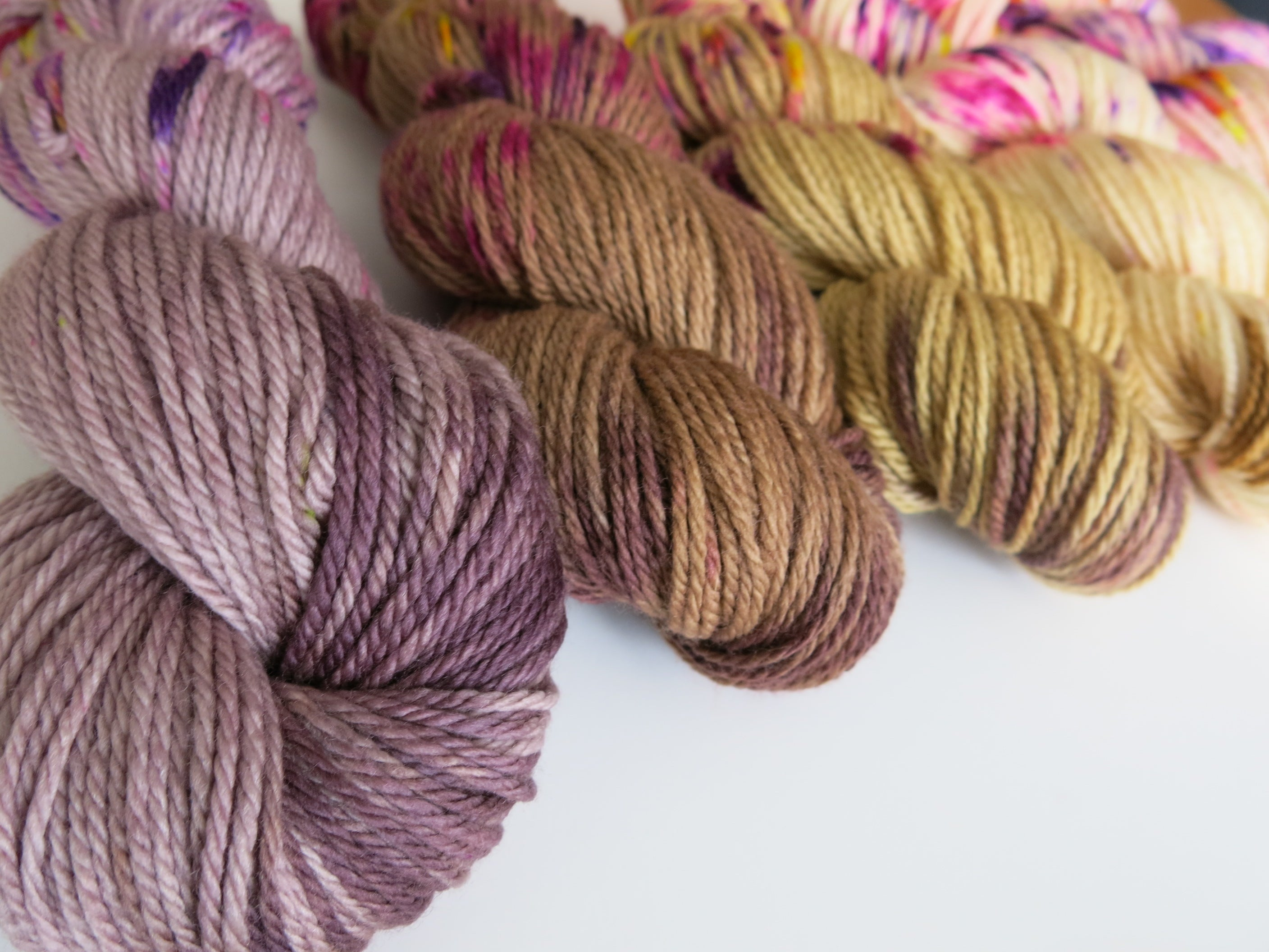 hand dyed and speckled yarn for weaving, knitting and crochet