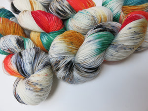 colourful speckled sock yarn by my mama knits on choufunga sock