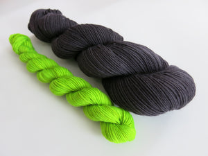 hand dyed sock yarn set with black and neon green mini skein