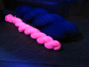 indie dyed black light responsive sock yarn skein