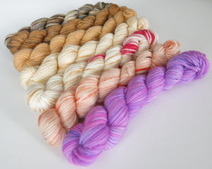 hand dyed merino sock yarn mini skeins for knitting and crochet