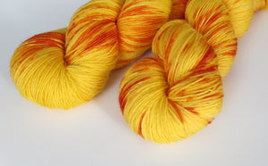 hand dyed yarn with golden yellow and orange