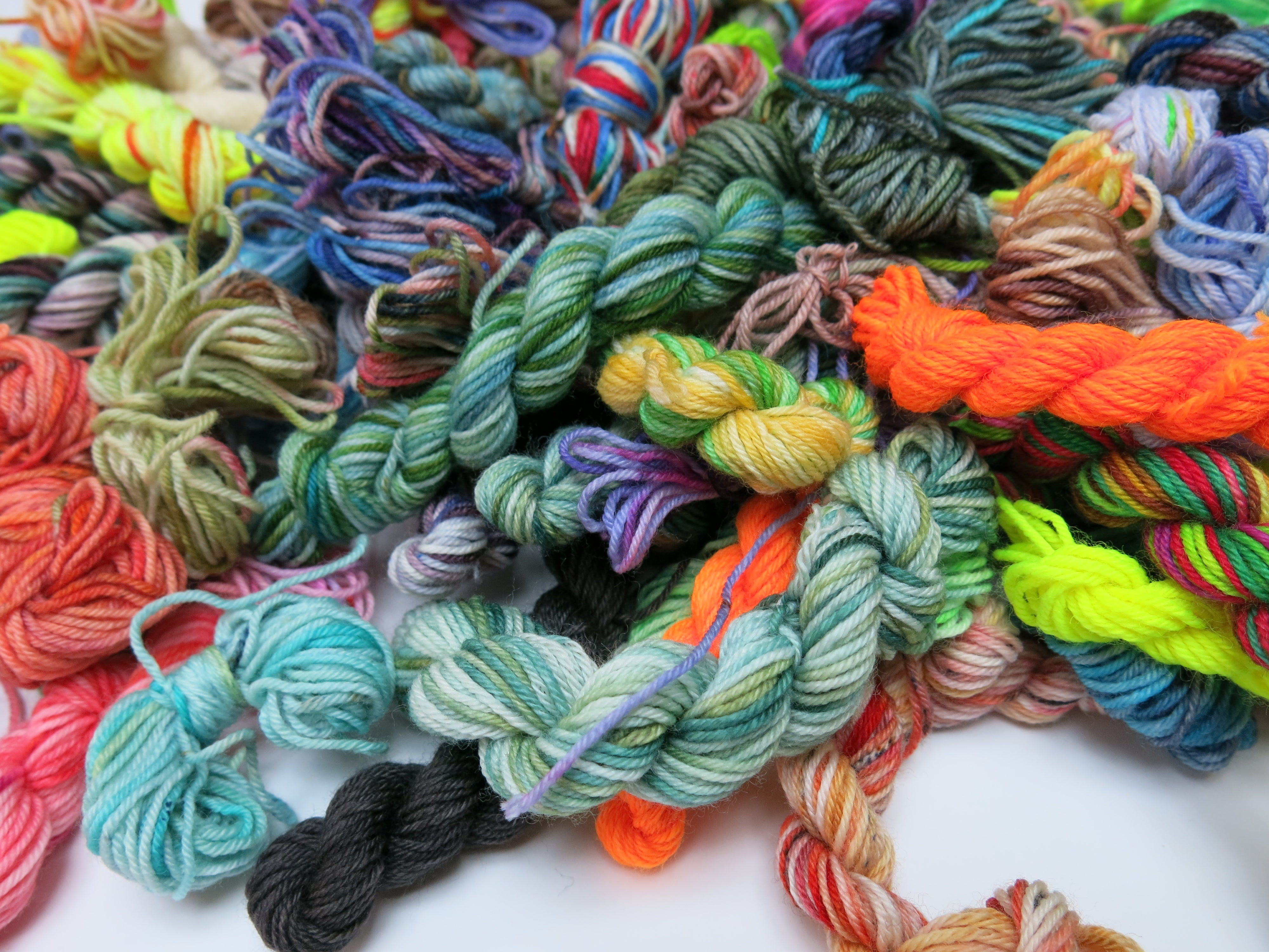 hand dyed sock yarn runts for frakensocks and scrap projects