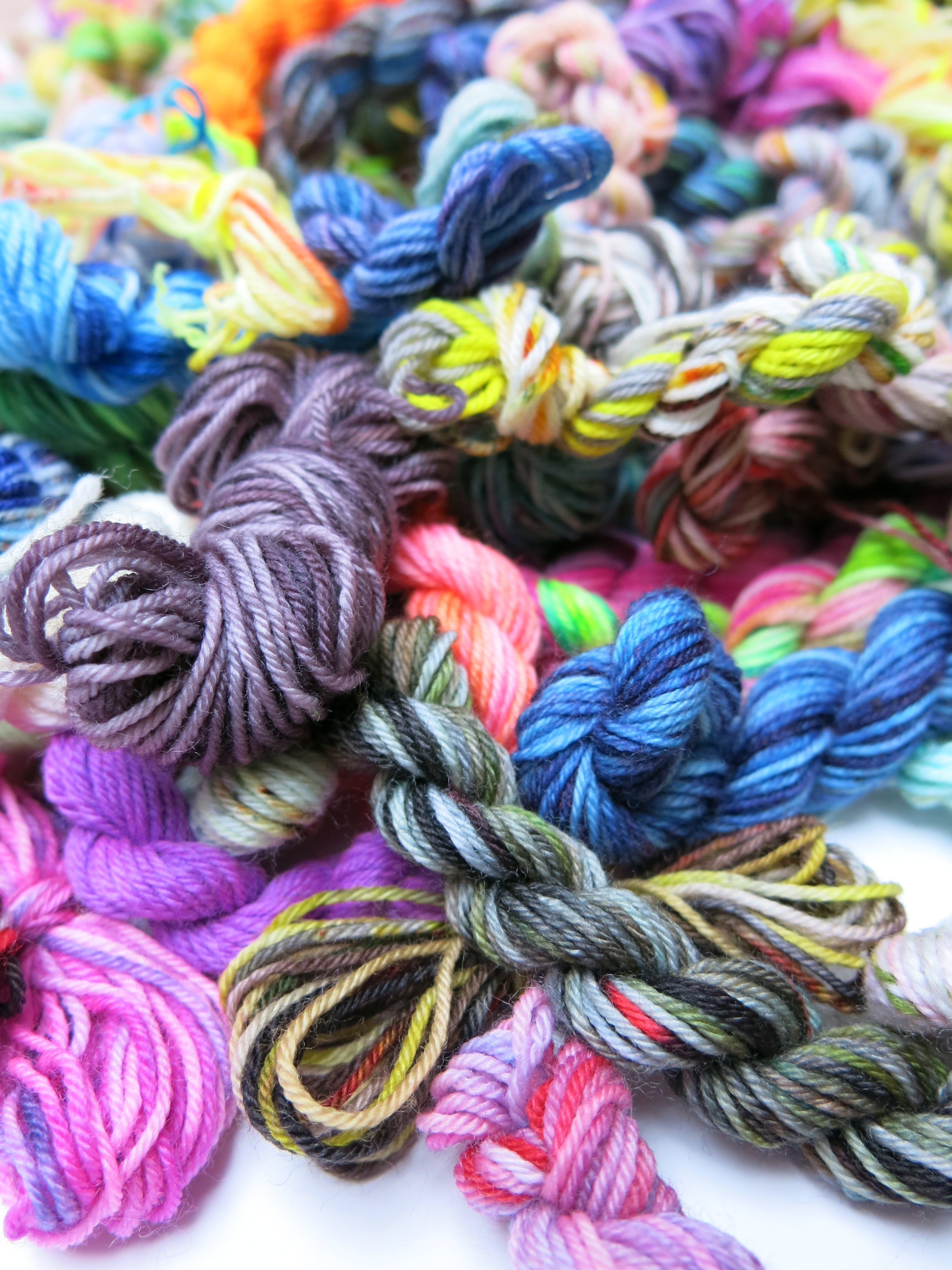 mini skein pile of yarn ends for small projects