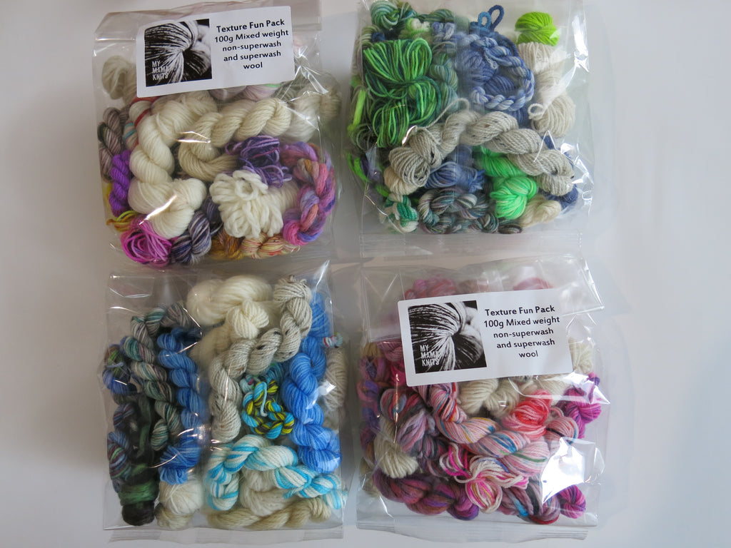 hand dyed mixed weight creativity yarn packs in rainbow colours