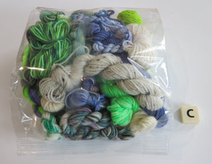 hand dyed texture pack of yarn wor weaving with greens and blues