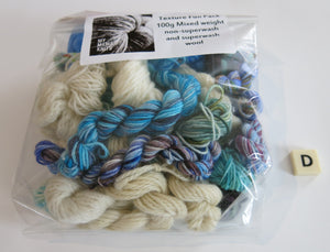 hand dyed texture pack of yarn with blues