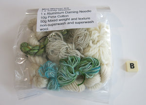 green and blue hand dyed mini weaver kit with loom and yarn