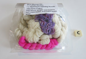 pink and purple hand dyed mini weaver kit with loom and yarn
