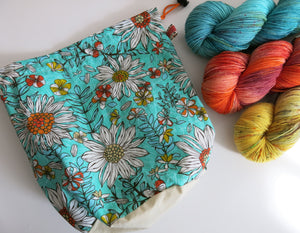 hand sewn bag for knitting and crochet projects