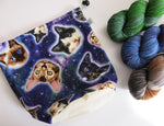space cats in star nebulas project bag for knitting