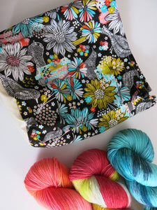 hand made knitting project bag with black and blue birds and flowers
