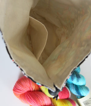 inside view of knitting project bag with small pocket