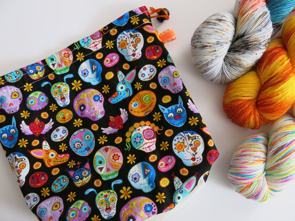 handmade knitting project bag with day of the dead animals