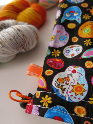craft project bag with sugar skull animals