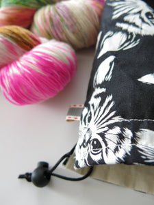 black and white cats knitting project bag