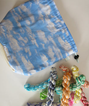 blue sky with clouds knitting project bag