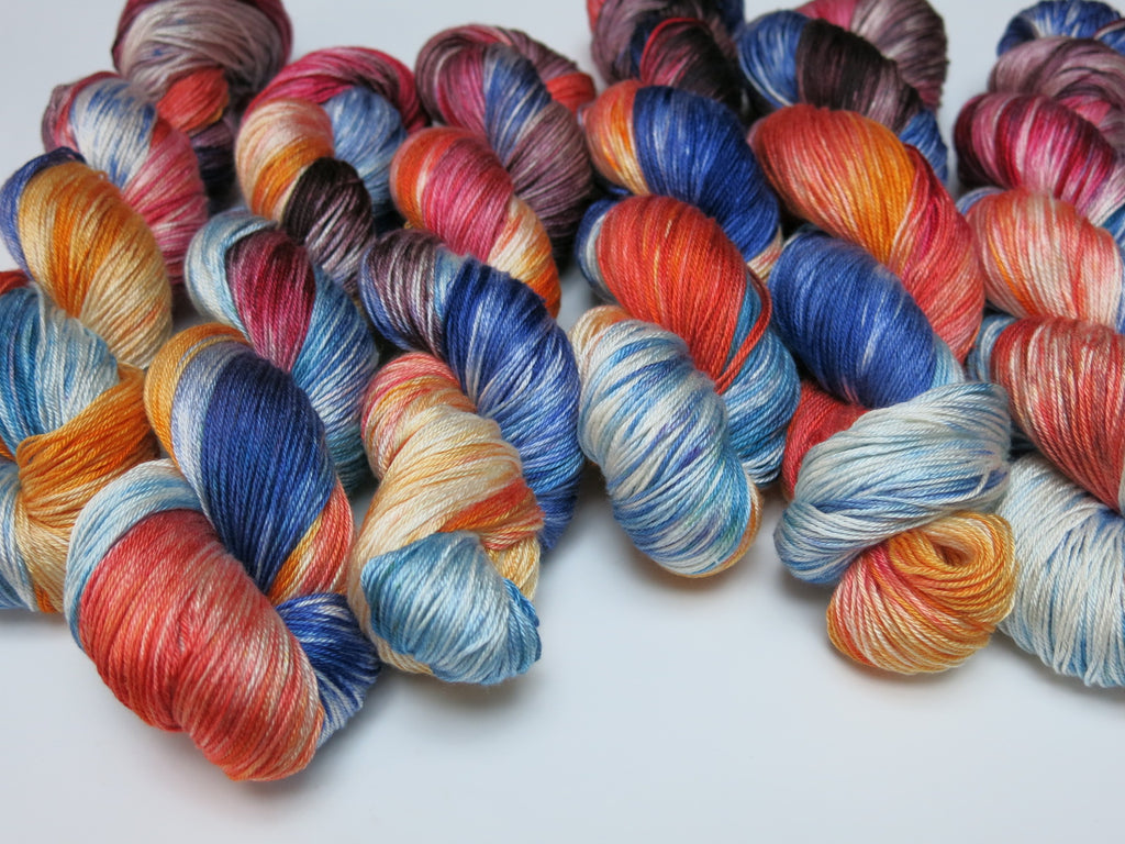 hand dyed mulberry silk sock yarn skeins