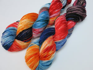 hand dyed multi coloured dk sock yarn skeins