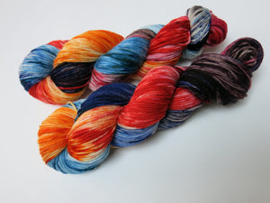 unique hand dyed yarn skeins by my mama knits