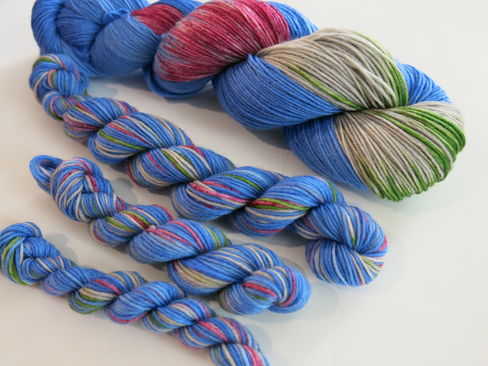 blue and grey sock yarn mini skeins for knitting and crochet