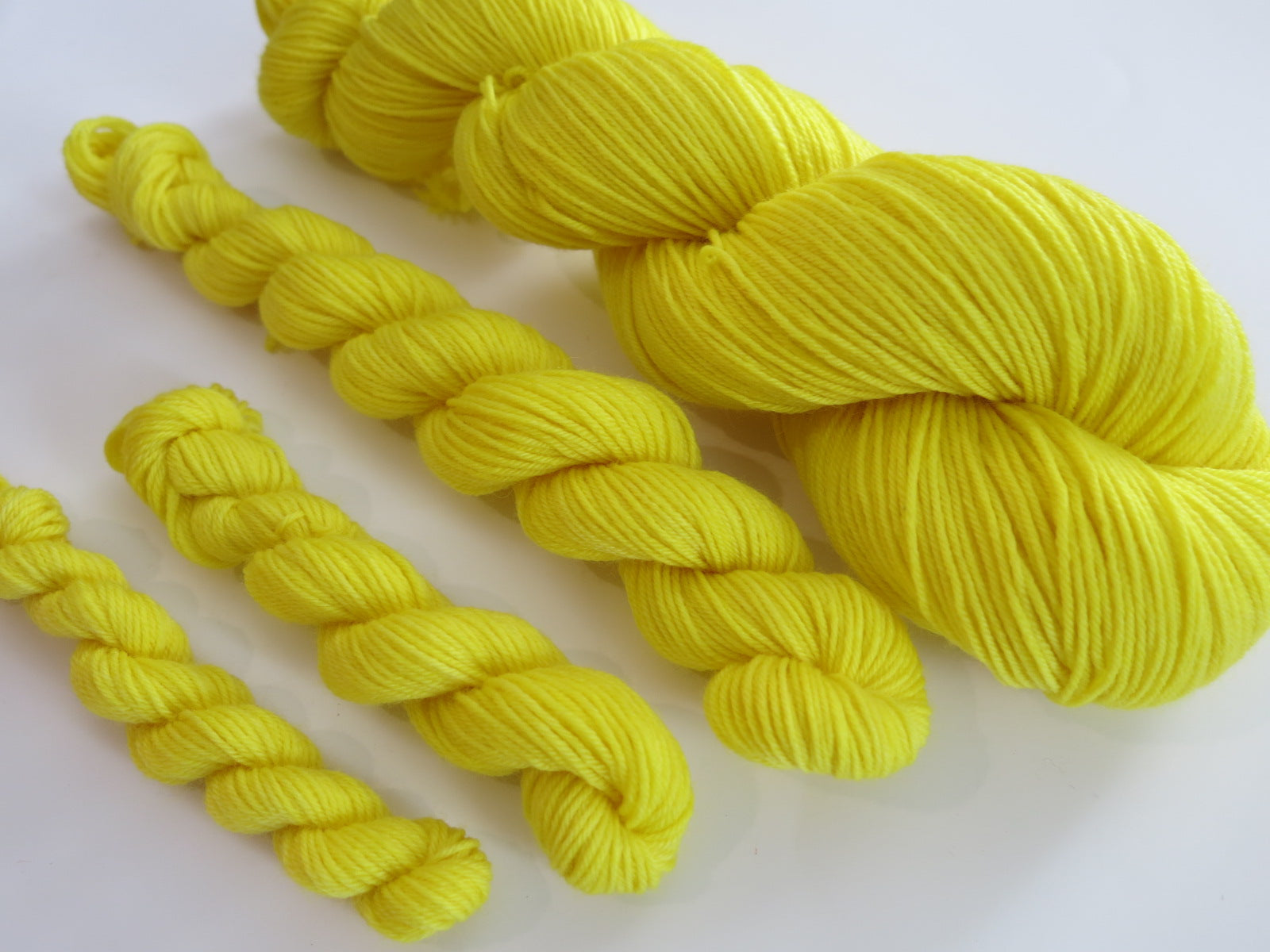 hand dyed yellow mini skeins for sock knitting and crafts