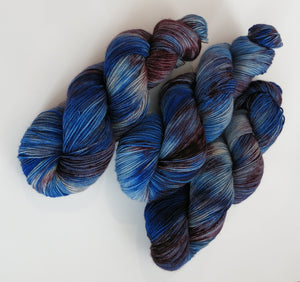single batch purple and blue sock yarn for shawl knitting