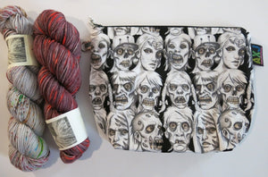 zip close zombie sock wedge bag for knitting projects
