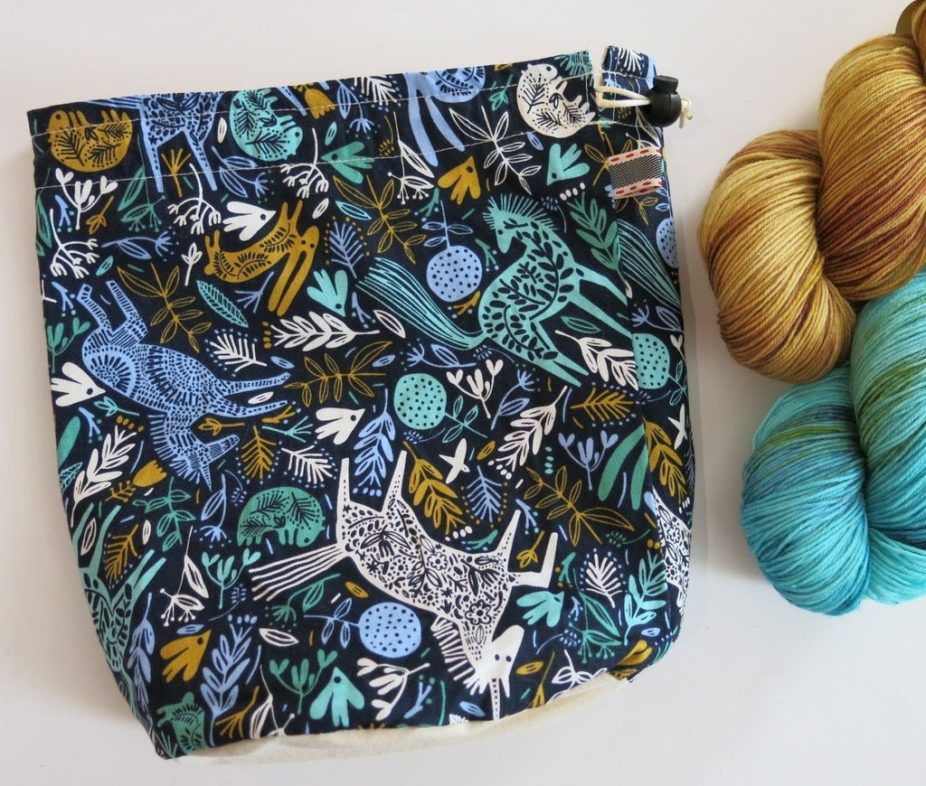 unicorns and ponies scandinavian print project bag for knitting