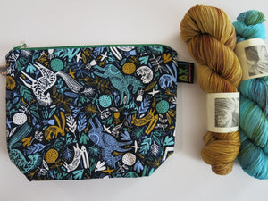zip close skogen print project bag good for pencils, make up and knitting