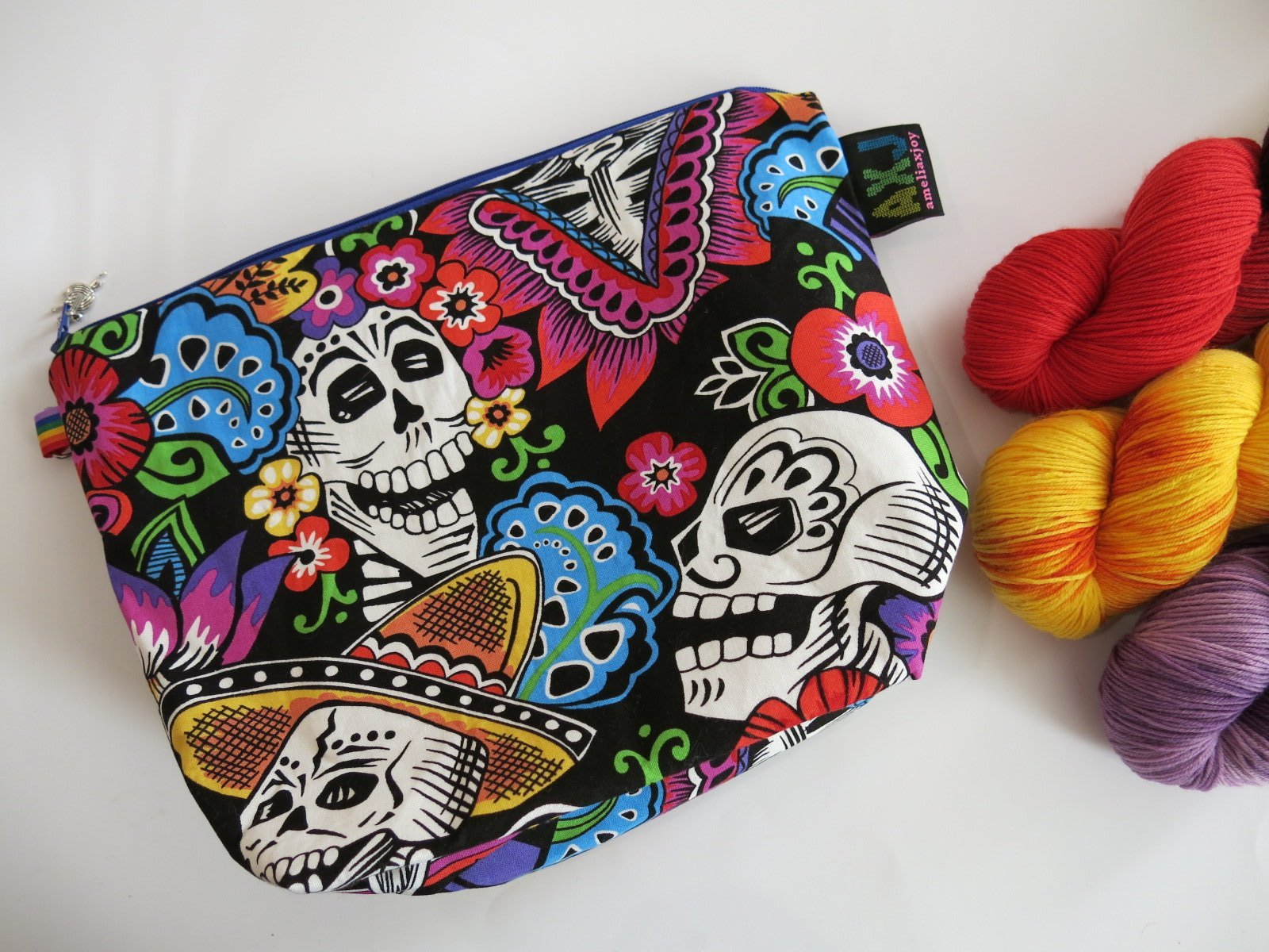 day of the dead zipper bag for use as a pencil case or makeup bag