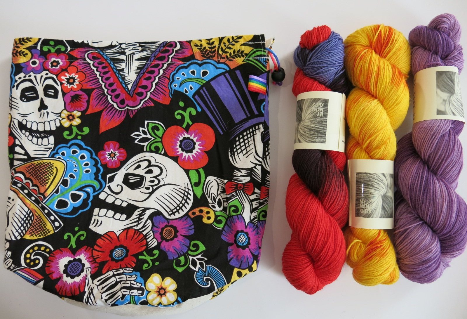 dia de los muertos skeleton project bag for knitting and crochet