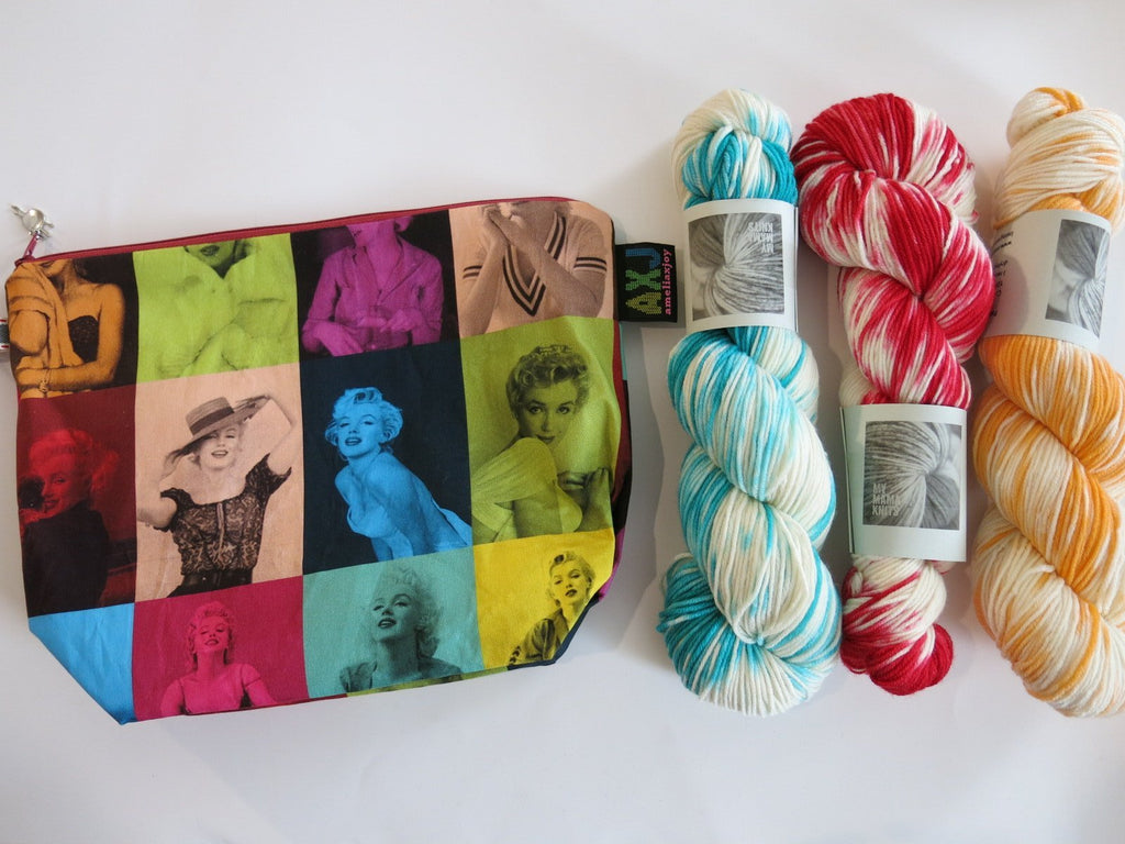 marilyn monroe zipper bag for knitting or makeup toiletries