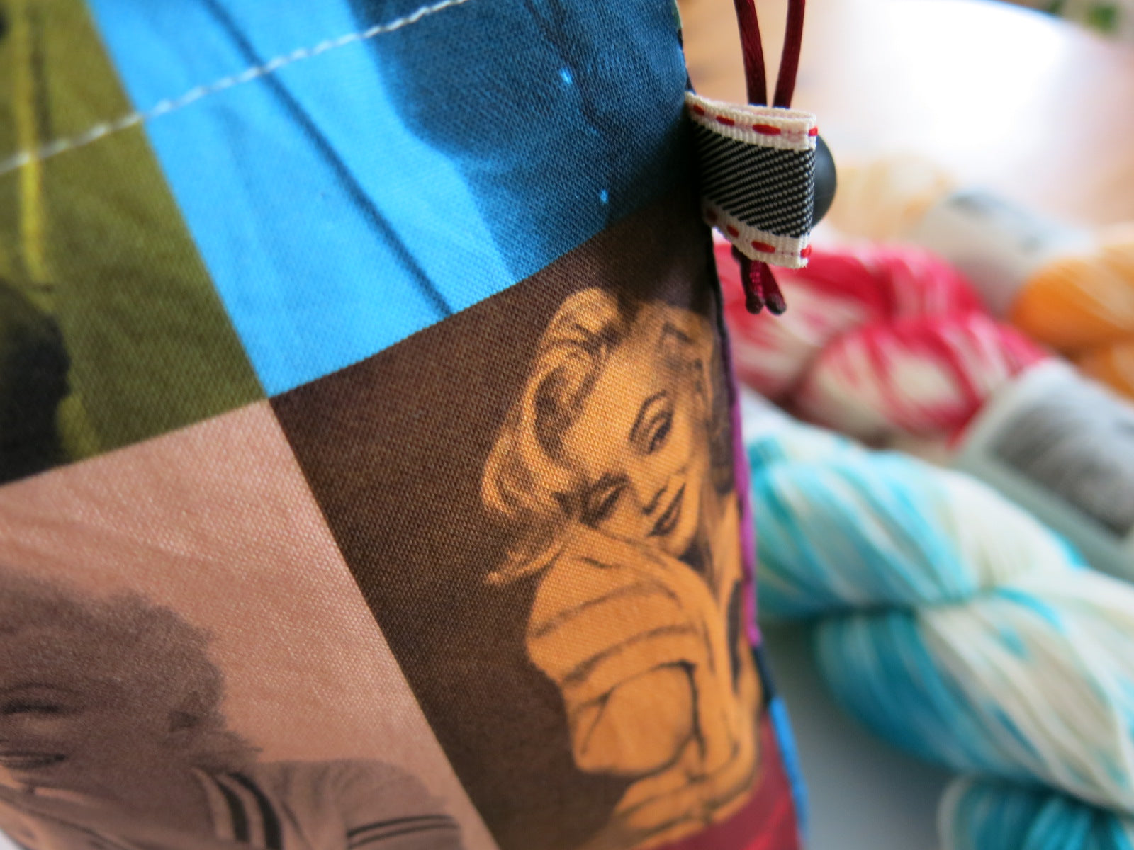 hand sewn marilyn monore project bag for knitting or crochet