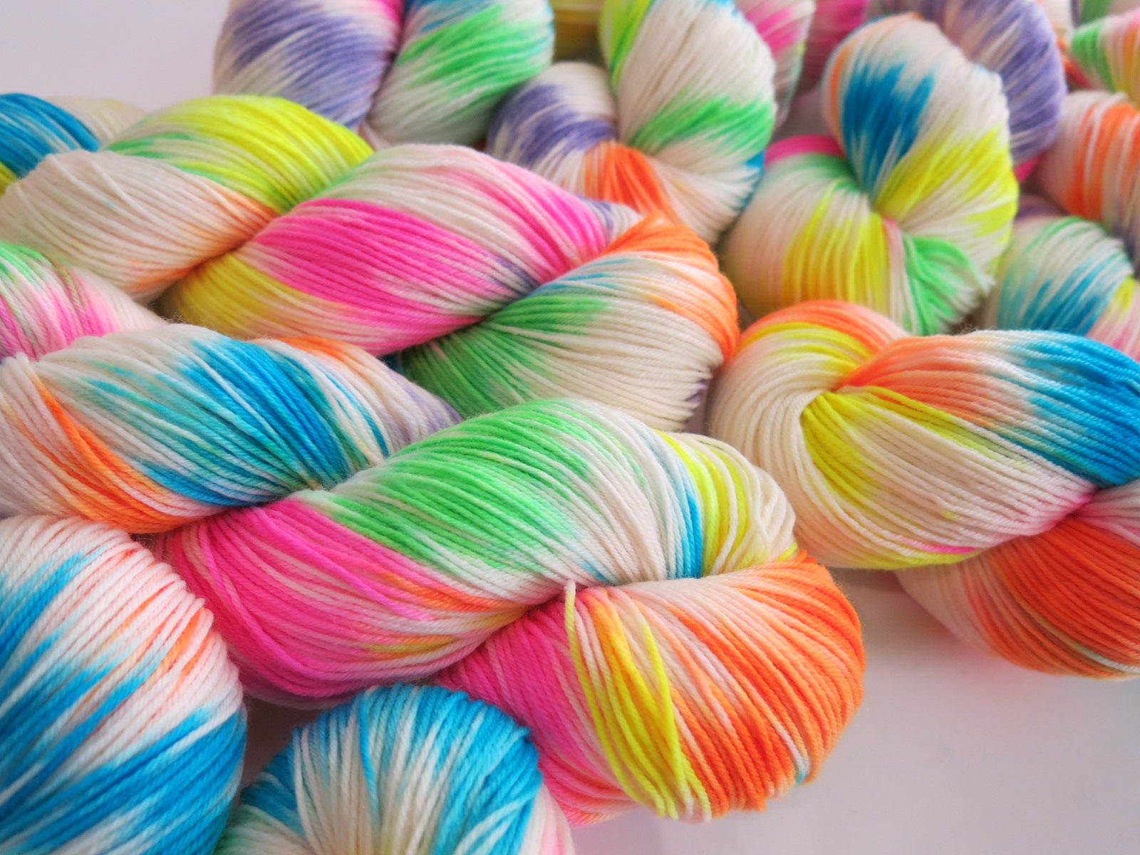 sugar skull indie dyed yarn with neon pops of colour
