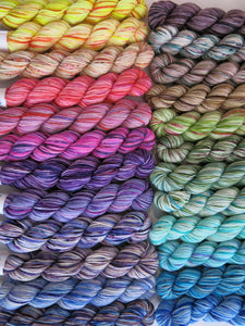hand dyed rainbow mini skein set on superwash merino sock yarn