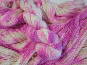 sparkly pink and white sock yarn for knitting and crochet