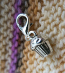 silver hanging cupcake charm for bracelets, zippers and crochet projects