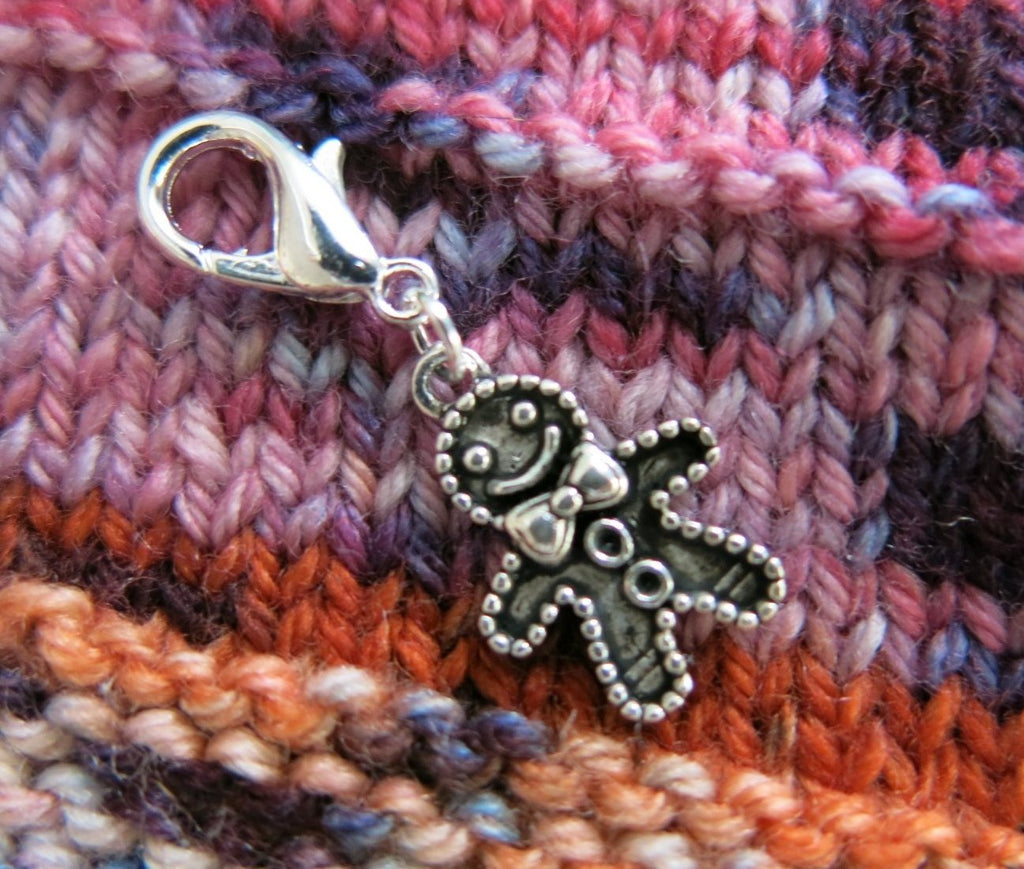 hanging gingerbread man charm with a lobster clasp