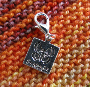 friendship charm with a butterfly for bracelets, bags and knitting