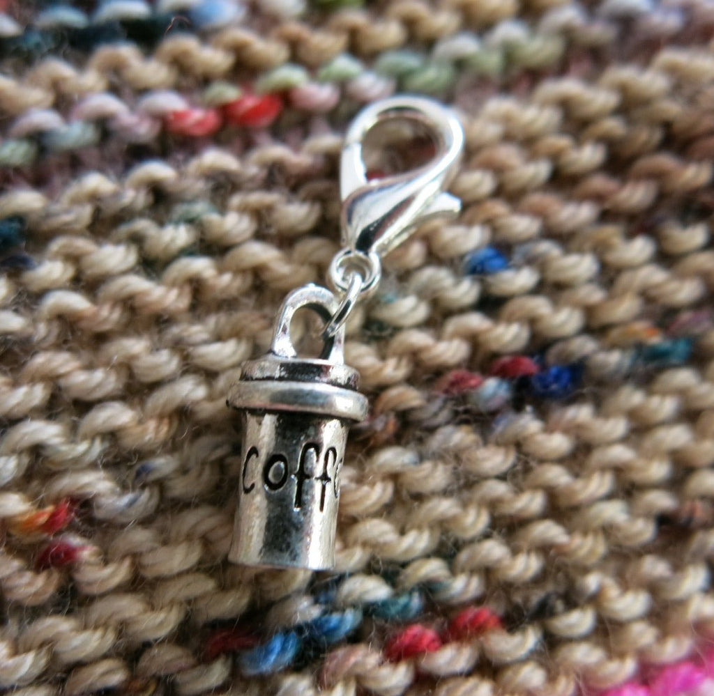 silver coffee to go cup charm for zippers, bags and crochet