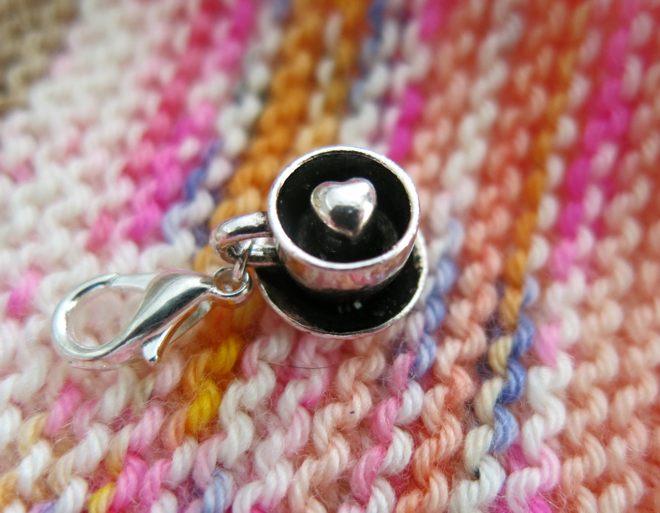silver tea cup and saucer charm stitch marker